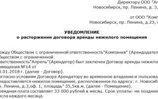 Заявление о прекращении аренды помещения образец